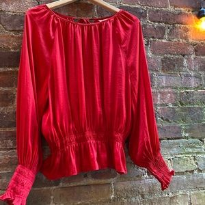 H&M Silky Red Blouse- Bell Sleeve